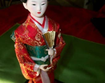 1960's Geisha doll with Fan from Japan