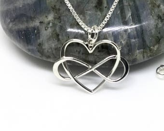 Heart Infinity Necklace Sterling Silver Infinity Charm Silver Heart Necklace Small Valentine's Gift Love Friendship Necklace