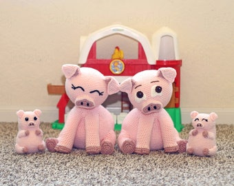 Crochet Stuffed Pig Pattern with Piglet Pudgy Pals (PDF FILE)