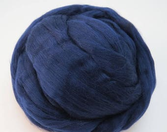 SALE Merino Silk  Roving, (Tuarag) Light Navy Blue
