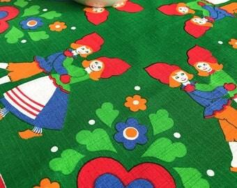 60s christmas retro tablecloth swedish floral print tablecloth folklore gnomes dancing couple hearts Scandinavian design
