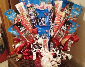 Happy Fathers Day Happy Birthday Candy Bouquet Cookies, Peanuts, Jerky and Candy Bars, Candy Bar Bouquet