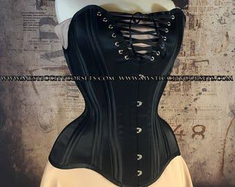 New MCC-29 Black satin overbust bust lacing tightlacing waisttraining corset MystiC City Corsets