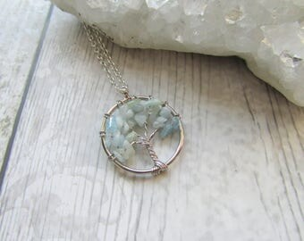 Small Aquamarine Tree Of Life Pendant - Gemstone Necklace - Silver Plated Blue Chips