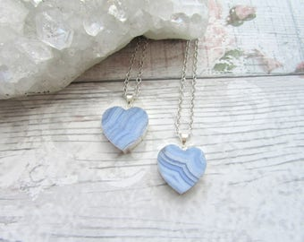 Blue Lace Agate Heart Pendant - Blue Striped Gemstone Necklace - Silver Plated Electroplate Jewellery - Small Chic Necklace