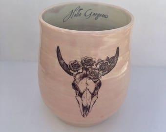 Porcelain Floral Skull Mug