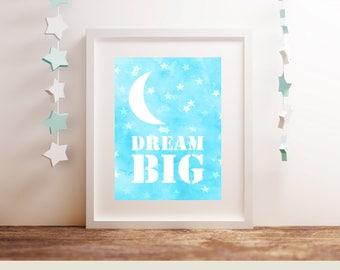 DREAM BIG A4 Printable Children's Bedroom or Nursery Baby Girl Boy Playroom Shower Wall Home Decor Aqua Star Print Instant Download