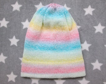 Knit Hat - Pastel Gradient - Pink Yellow Green Blue White - Slouchy Beanie