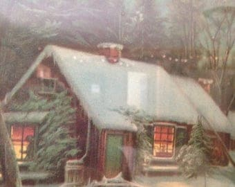 ClearanceOutOfBusiness vintage 1940 cabin lithograph,cottage art,cabin in winter,snow,original metal frame,rustic cabin scene,cold winter ni