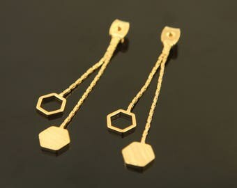 Dangling Hexagon Ear Back, T57-G3, 2 pcs, Nickel Free, 44mm long, Hexagon charm 7mm, 16K Gold Plated Brass, Stopper with Charm