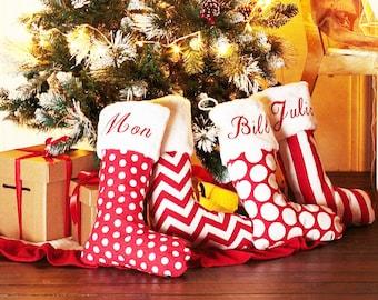 Personalized Burlap Christmas Stockings - Family Name Xmas Stocking