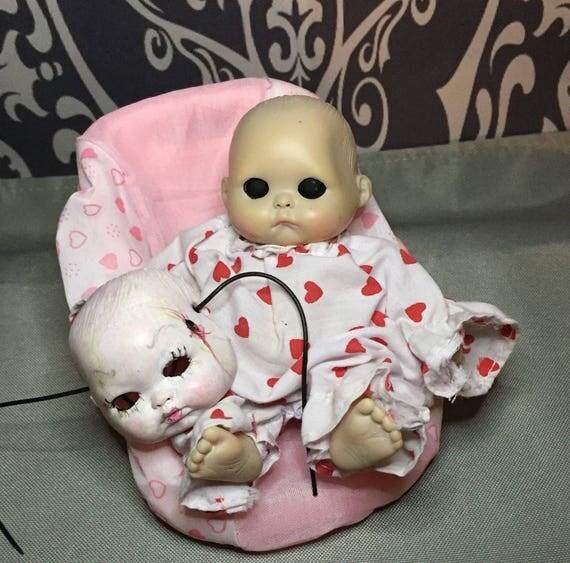 Black Eyed Baby Doll Original Undead Skinned Baby Doll Mask Wearing Zombie Biohazard Baby