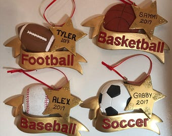 Soccer Football Baseball Basketball Personalized Christmas Ornaments for Kids / Sports Ornament Gift for Kids