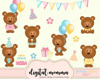 Birthday Party Clipart, Birthday, Bears Clip Art, Commercial & Personal Use, Instant Download!