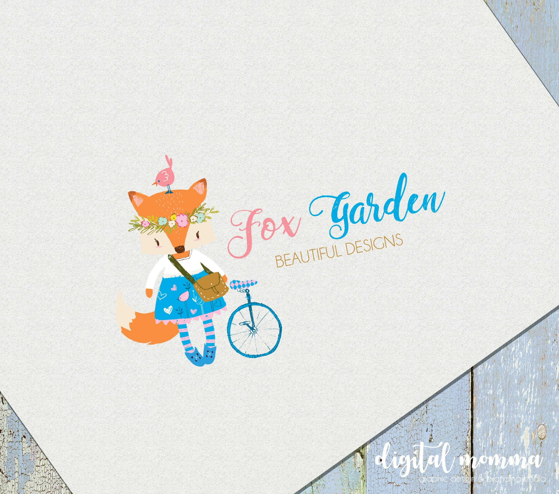 premade fox garden logo design girl fox floral fox logo