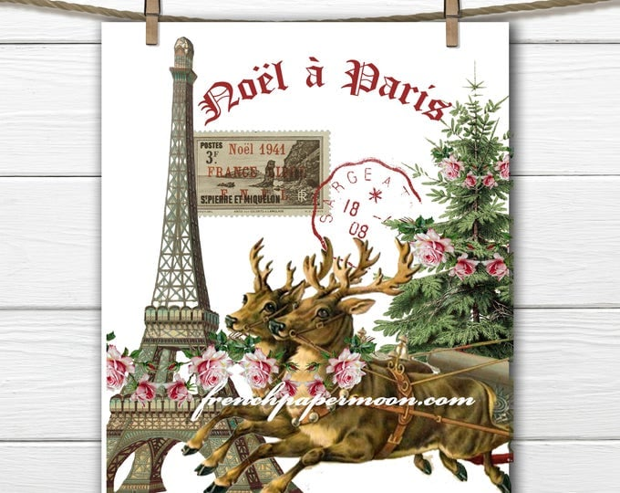 Shabby Christmas reindeer Transfer, Christmas in Paris, French Typography, White Background, Printable Graphic Transfer Image 0114