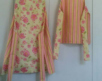 Apron sets, Mommy and me aprons reversible pastel flowers and stripes