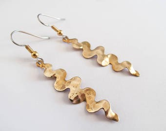 Dangle Hammered Swirl Earrings - Gift for Her - Surgical Ear Wire
