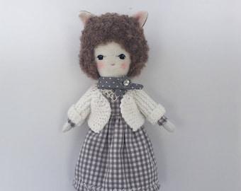 Fox doll- Unique doll- Linen doll