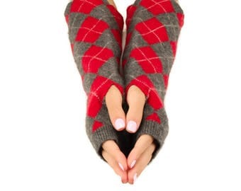 Cashmere Fingerless Gloves, Upcycled, Soft Felted Cashmere, Handmade Gloves, Wrist Warmers, Texting Gloves, Arm Warmers, Argyle Red Gray