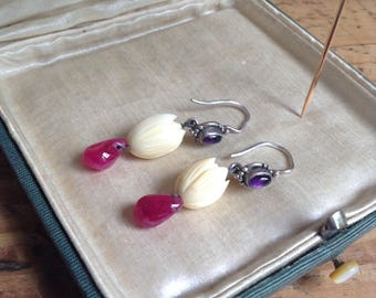 1990's ear-rings (ox bone,améthyst, tourmaline, silver)