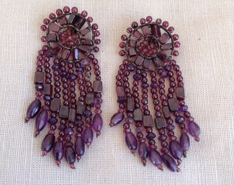 1980's garnet and amethyst earrings.