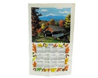 Calendar Tea Towel, 1988 Calendar Towel, Vintage Linen Tea Towel, Covered Bridge Tea Towel, 1988 Birthday