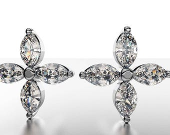 14k Beautiful Design of star Earrings with 8 Marquise Diamond of 5 Points TW 0.40
