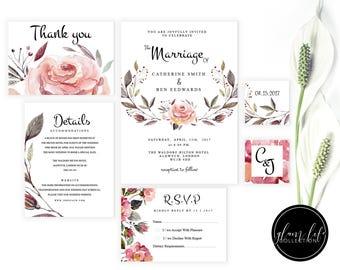 winter flower ,watercolor pastel ,roses wedding invite invitation ,clean galm modern, minimal luxury elegant, floral RSVP ,thank you card