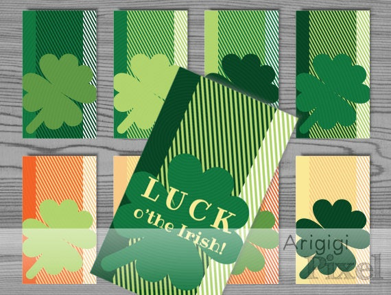 Luck O'the Irish Hang Gift Tag - editable blank tag included - St Patrick's Day printables - green lucky clover - download