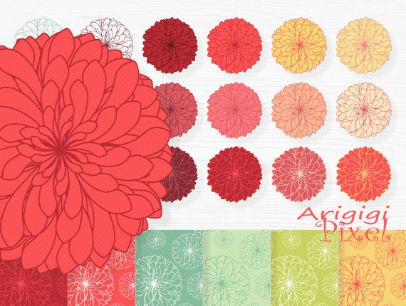 clipart and digital papers - chrysanthemum flowers - warm fall colors