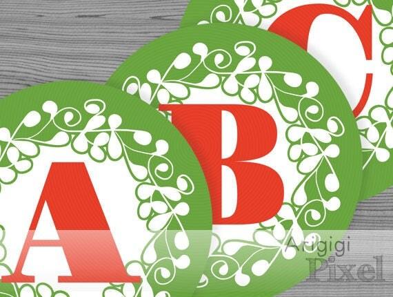 Green Christmas Alphabet  & Number - large circle - ornate design - printable