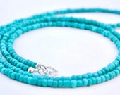 TURQUOISE BEADED, Long necklace, Turquoise beaded necklace, Layering turquoise necklace,