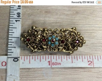 10% OFF 3 day sale Vintage Gold Toned Pin Brooch Blue Red Accent Stones Used