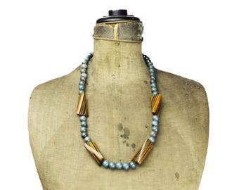 Blue Wood Bead Necklace, Chunky Wood Bead Necklace, Wooden Bead Necklace, Long Wood Bead Necklace, Long Blue Necklace