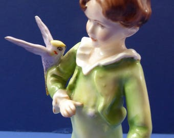 Vintage Royal Worcester Figurine The Parakeet. Modelled by Freda Doughty (3087). Green Costume with Lilac Bird. PERFECT