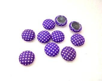 10 cabochon, fabric, 12mm, purple / white