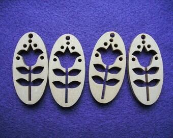 4 pendant, wood, 2,5 x 5 cm (05-0001A)