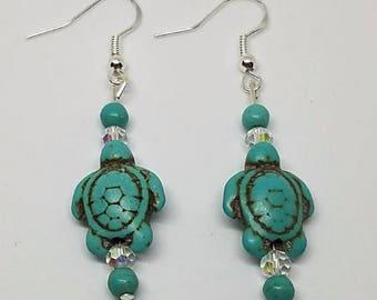 Earrings - Turquoise Turtles
