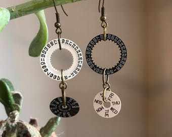 Watch Parts Black and White Days of the Week and Month Earrings