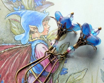 Fairy Flower Earrings, 'Bugle Pixie', Flower Earrings, Boho Earrings, Dangle Earrings, Blue Earrings, Czech Glass, Elf Earrings,