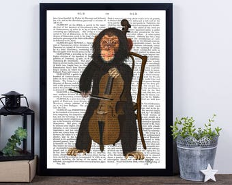 Chimpanzee Print & Cello - musical nursery print music gift ideas gift for musician cello gift monkey print funny monkey music room décor