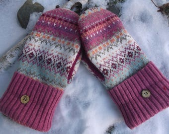 Cozy Sweater Pink Fair Isle mittens made from recycled/upcycled sweaters, fleece lined