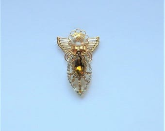 Gold and Citrine with Rhinestones Angel Pin