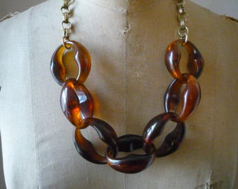 Vintage Oversize Chunky Faux Tortoise Shell Nautical Link Gold Tone Necklace