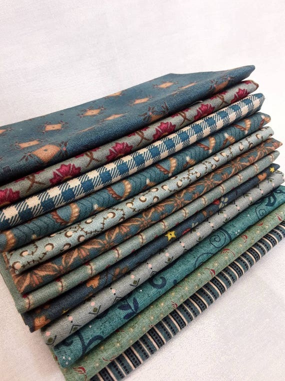 Kim Diehl Fabric Bundle of 12 Fat Eighths Aqua Green Primitive Cotton Quilting Prints.  Use These Materials In Your Favorite Quilt Patterns