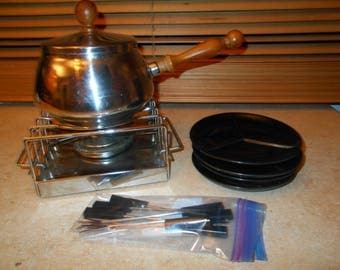 Stainless Steel and Teak Art Deco Style Fondue Set