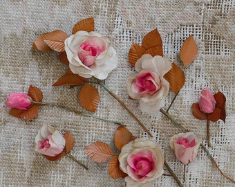 Antique French Millinery Flowers / Shabby Boho