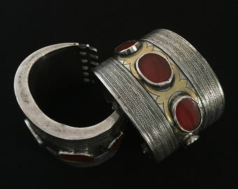 Yomud from turkmen silver bracelet gilded with cornalian original ethnic turkmen art jewelry
