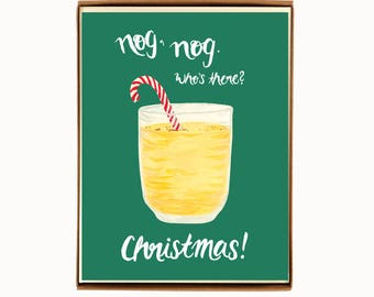 Box of 8 Holiday Drink Recipe Card - Eggnog - nog, nog. Who's there? Christmas! / HLYDRINK-EGGNOG-BOX